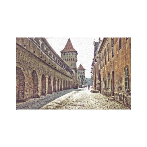 Impresión medieval de la lona de la torre de Sibiu Lona Estirada Galerías