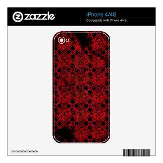 Impresión medieval roja del Grunge fresco Calcomanías Para iPhone 4