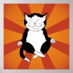 Impresión Meditating del poster del gatito del smo