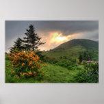 Impresión melada del arte de la montaña poster