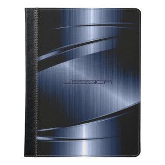 Impresión metálica azul marino del acero