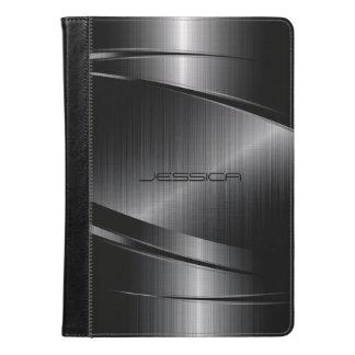 Impresión metálica negra del acero inoxidable