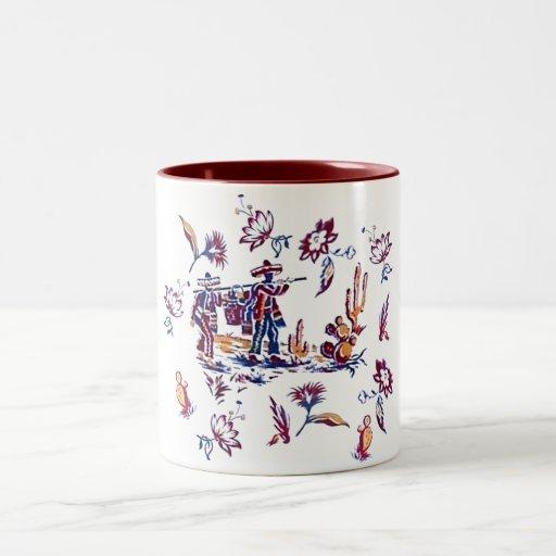 Impresión mexicana de la tela del vintage taza dos tonos