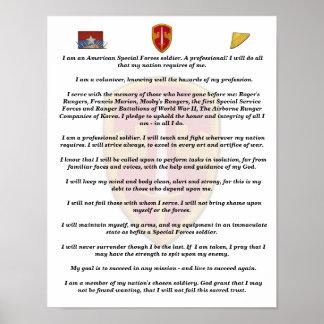 impresión militar del credo de las boinas verdes póster