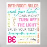 Impresión moderna de las reglas del cuarto de baño impresiones
