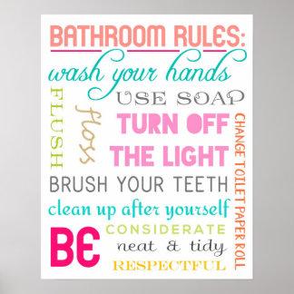 Impresión moderna de las reglas del cuarto de baño póster