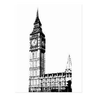 Impresión monótona de LONDRES BIG BEN Tarjeta Postal