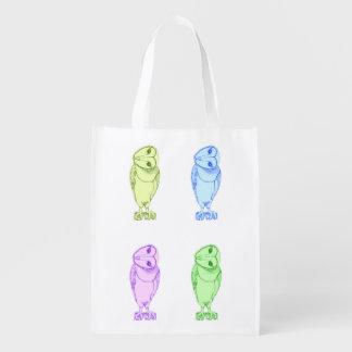 Impresión multicolora de la lechuza común bolsas para la compra