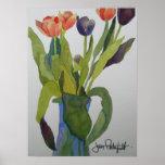 Impresión multicolora de los tulipanes impresiones
