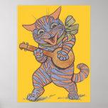 Impresión musical del poster del gato del vintage