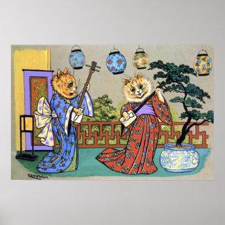 Impresión musical japonesa del poster del gato de
