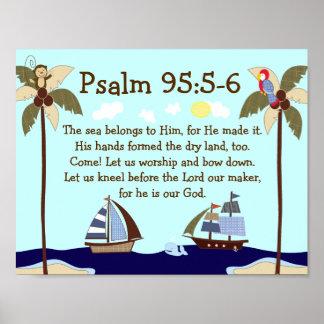 Impresión náutica de la pared del verso de la bibl póster