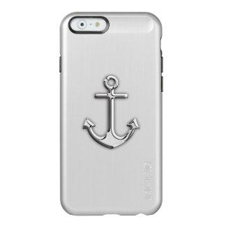 Impresión náutica del ancla del cromo funda para iPhone 6 plus incipio feather shine