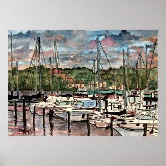 impresión náutica del arte del marinero del puerto poster