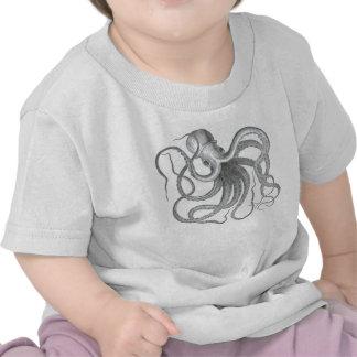Impresión náutica del pulpo del steampunk del vint camiseta