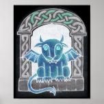 Impresión negativa del Gargoyle céltico Posters