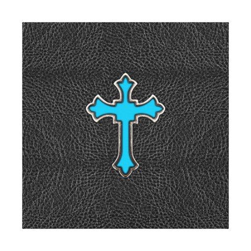 Impresión negra cruzada azul de neón de la imagen  impresión en tela