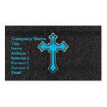 Impresión negra cruzada azul de neón de la imagen tarjetas de visita