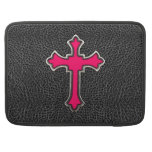 Impresión negra cruzada rosada de neón de la image funda para macbooks
