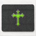 Impresión negra cruzada verde de neón de la imagen alfombrilla de ratón
