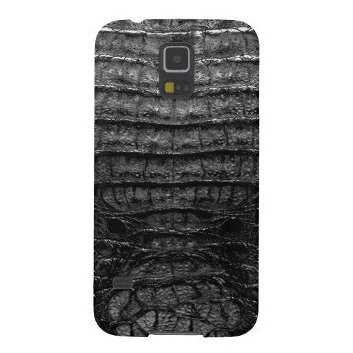 Impresión negra de la piel del cocodrilo carcasa de galaxy s5