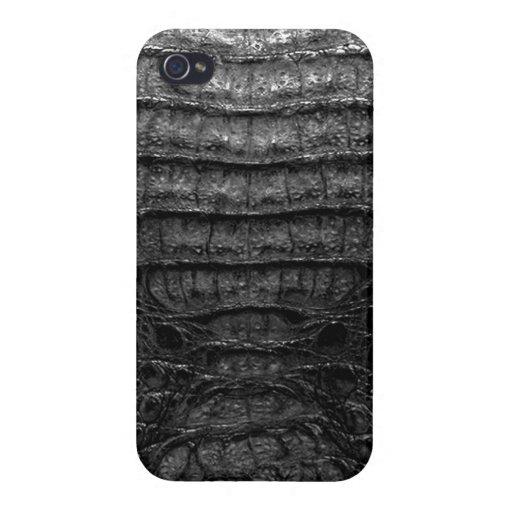 Impresión negra de la piel del cocodrilo iPhone 4 funda