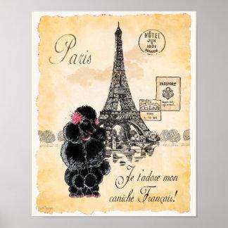 Impresión negra del arte de París de la torre Eiff Póster