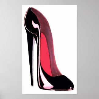 Impresión negra del arte del zapato del estilete póster