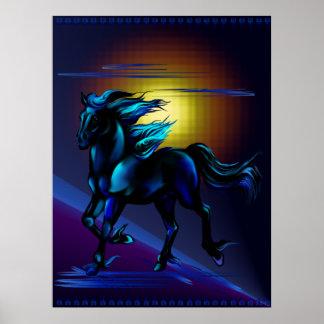 Impresión negra del caballo poster