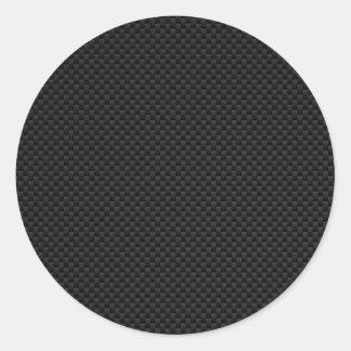 Impresión negra del estilo de la fibra de carbono pegatina redonda