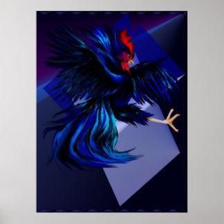 Impresión negra del gallo que lucha póster