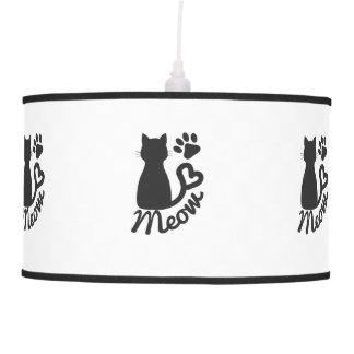 Impresión negra del gato del gatito y de la pata lámpara de techo