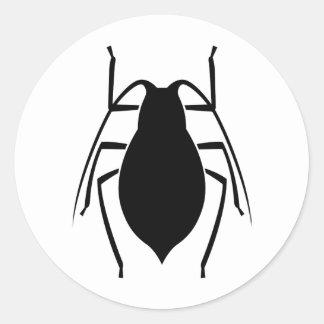 Impresión negra del insecto del áfido pegatina redonda