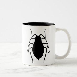Impresión negra del insecto del áfido taza de café de dos colores