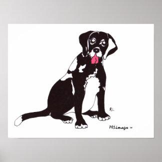 Impresión negra del perro del laboratorio póster