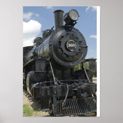 Impresión negra del poster del tren
