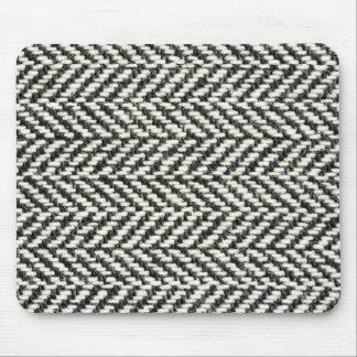 Impresión negra del tweed de la raspa de arenque y tapetes de ratones