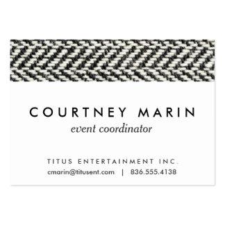 Impresión negra del tweed de la raspa de arenque y tarjetas de visita grandes