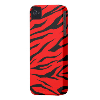 Impresión negra/roja imponente del tigre - caso de iPhone 4 Case-Mate cárcasa