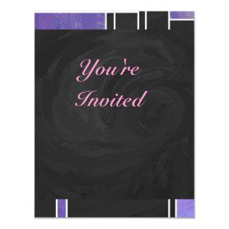 """Impresión negra rosada púrpura de Mondrian Invitación 4.25"""" X 5.5"""""""