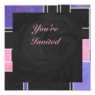 """Impresión negra rosada púrpura de Mondrian Invitación 5.25"""" X 5.25"""""""
