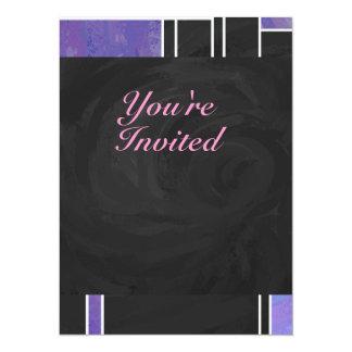 """Impresión negra rosada púrpura de Mondrian Invitación 5.5"""" X 7.5"""""""