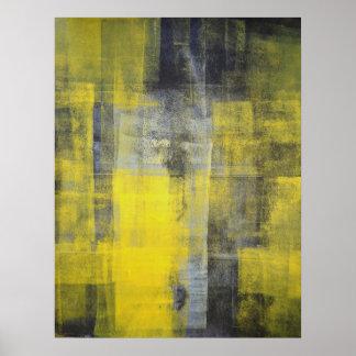 Impresión negra y amarilla del poster del arte abs
