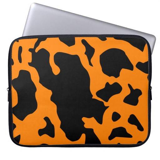 Impresión negra y anaranjada fresca de la vaca fundas portátiles
