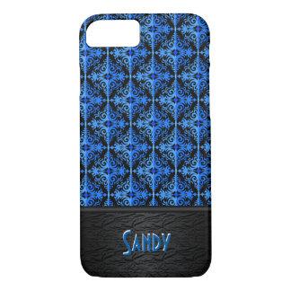 Impresión negra y azul del diamante de la diadema funda iPhone 7