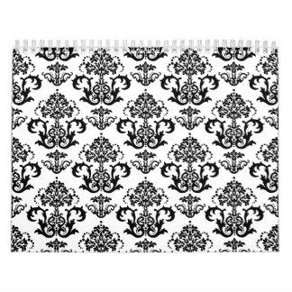 Impresión negra y blanca clásica del papel pintado calendarios de pared