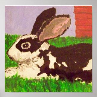 Impresión negra y blanca de la pintura del conejo poster
