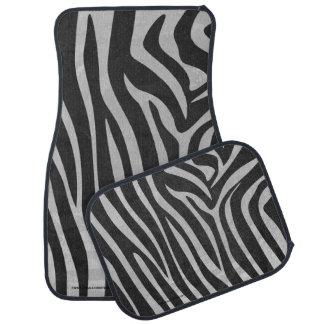 Impresión negra y gris clara de la cebra alfombrilla de auto