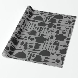 Impresión negra y gris del artilugio de la cocina papel de regalo