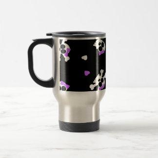 Impresión negra y púrpura linda del cráneo y del taza térmica